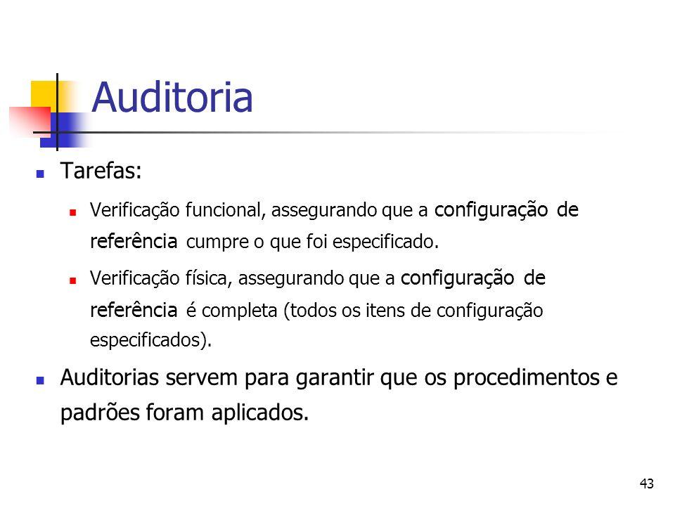 Auditoria Tarefas: Verificação funcional, assegurando que a configuração de referência cumpre o que foi especificado.