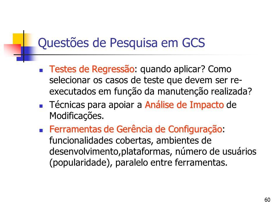 Questões de Pesquisa em GCS