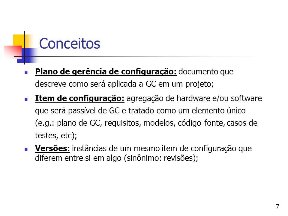 Conceitos Plano de gerência de configuração: documento que descreve como será aplicada a GC em um projeto;