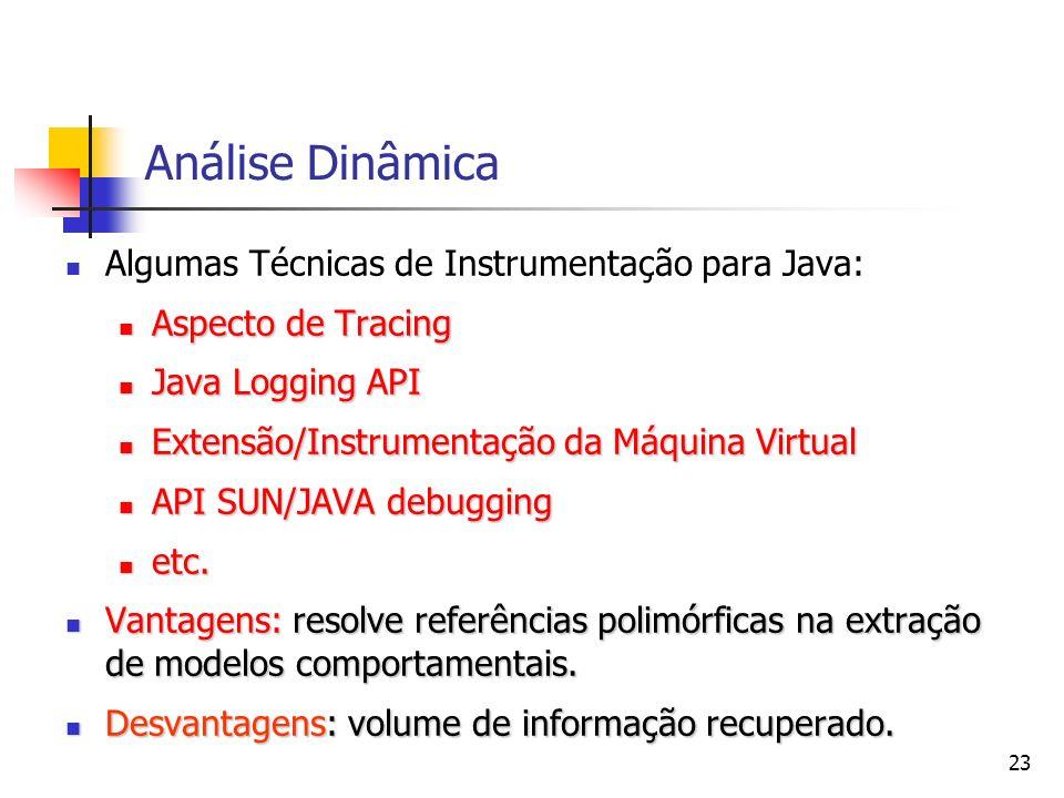 Análise Dinâmica Algumas Técnicas de Instrumentação para Java: