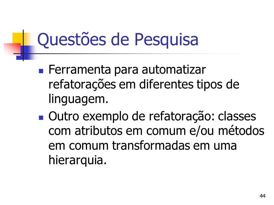 Questões de Pesquisa Ferramenta para automatizar refatorações em diferentes tipos de linguagem.