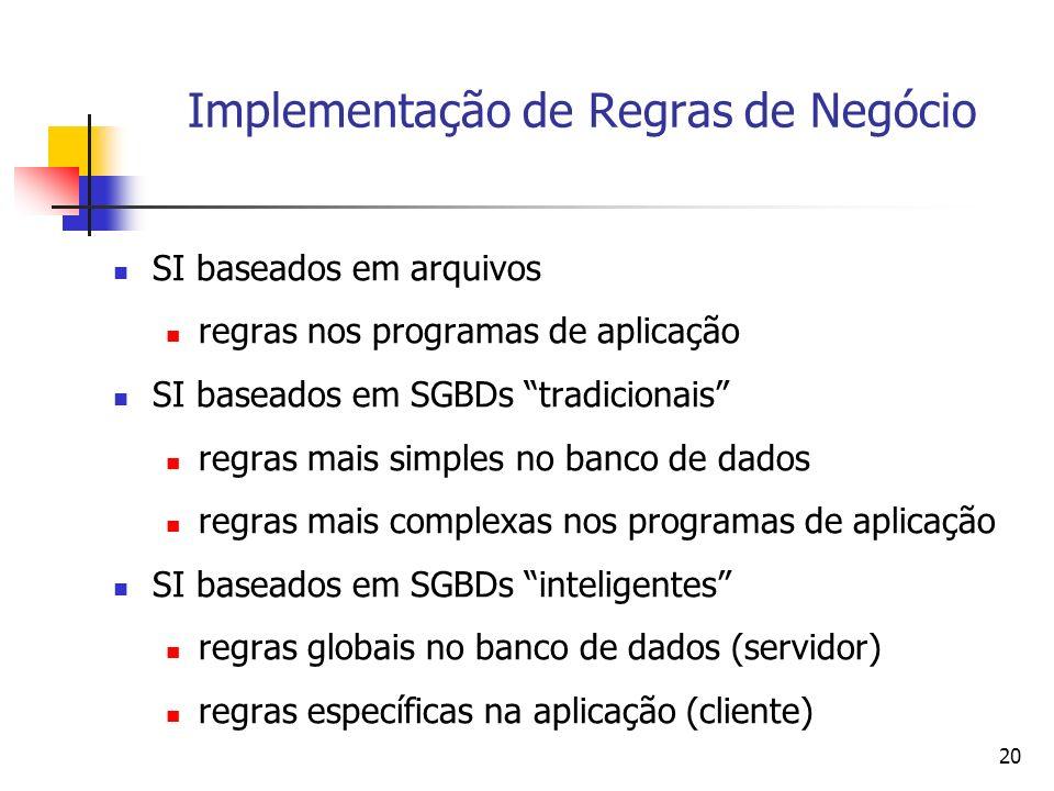 Implementação de Regras de Negócio