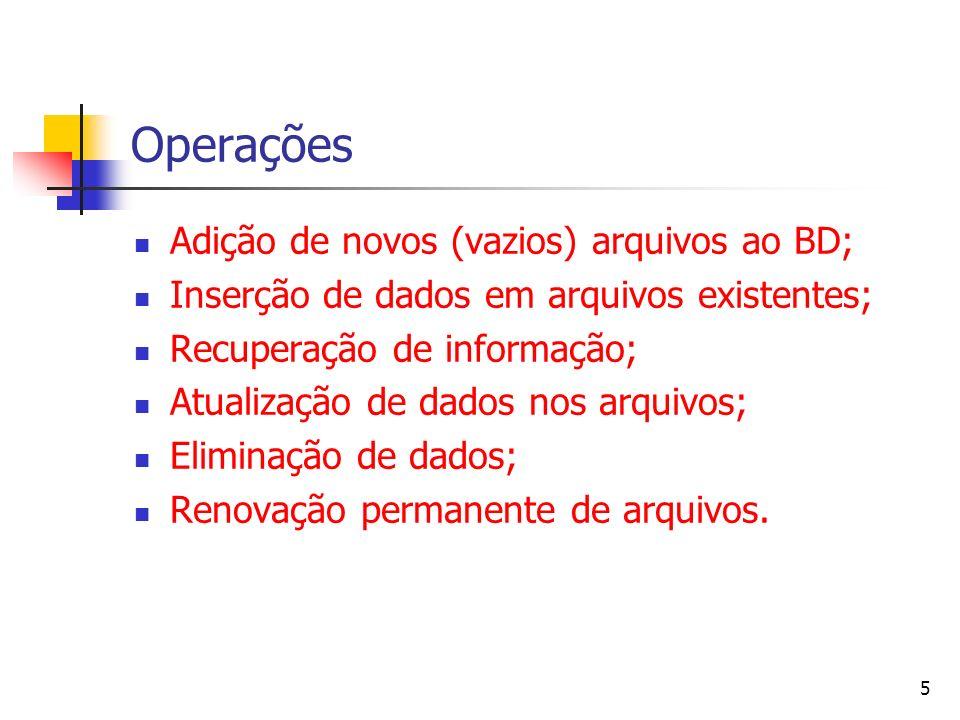 Operações Adição de novos (vazios) arquivos ao BD;