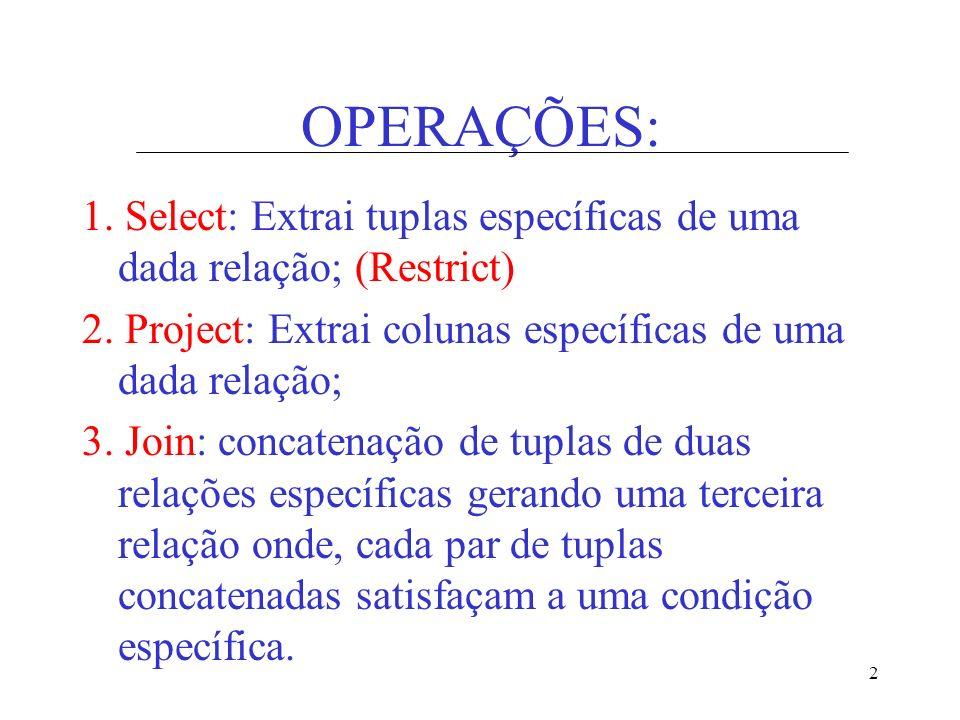 OPERAÇÕES: 1. Select: Extrai tuplas específicas de uma dada relação; (Restrict) 2. Project: Extrai colunas específicas de uma dada relação;