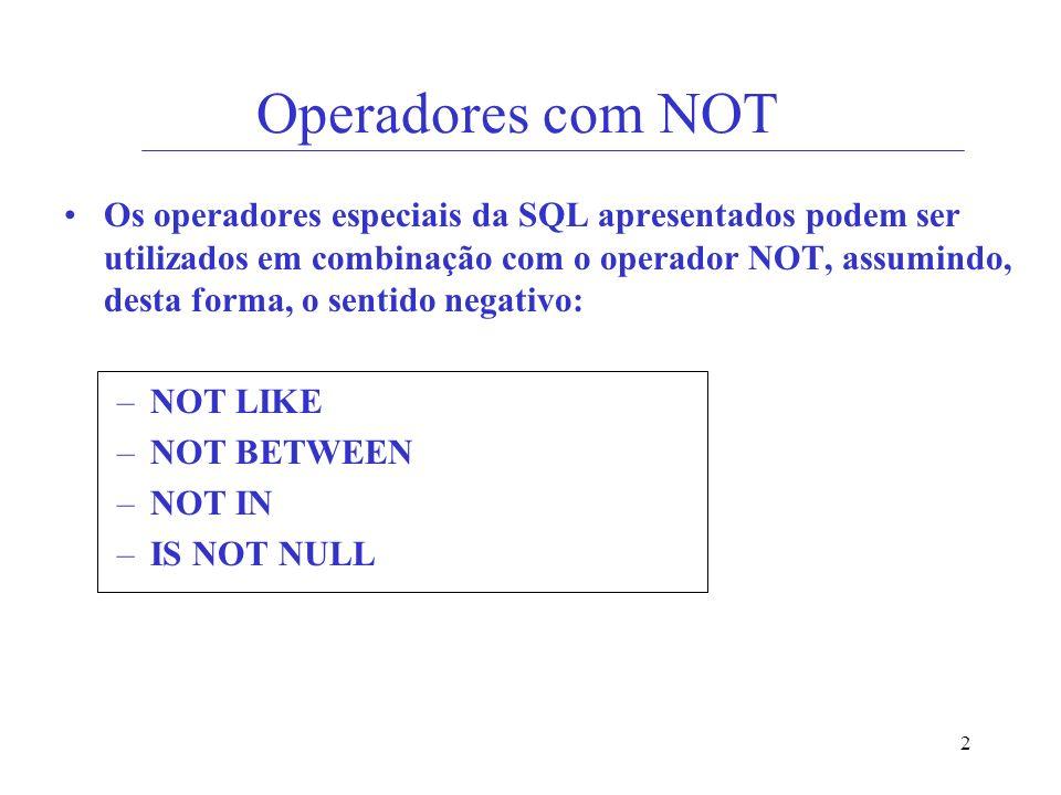Operadores com NOT