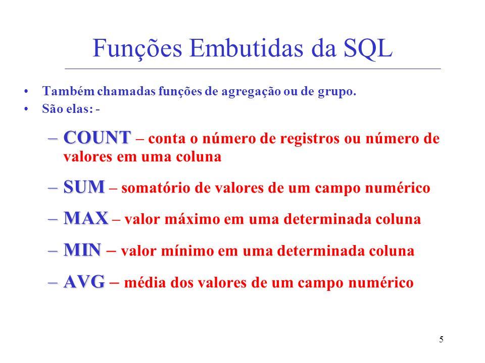 Funções Embutidas da SQL