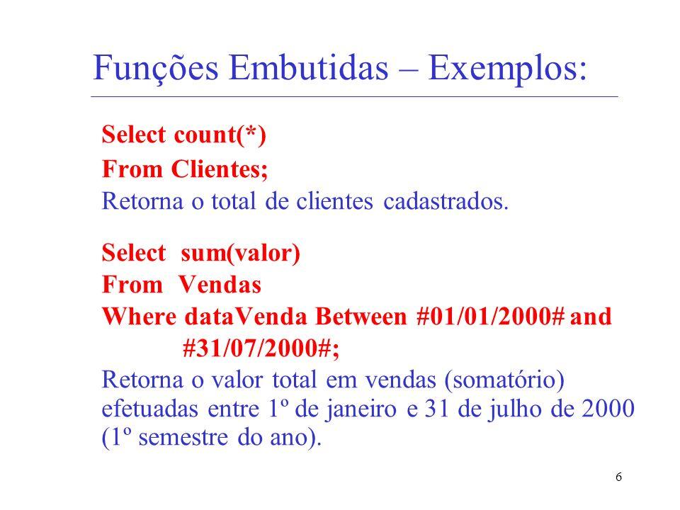 Funções Embutidas – Exemplos: