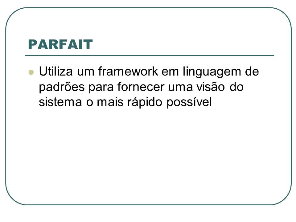 PARFAIT Utiliza um framework em linguagem de padrões para fornecer uma visão do sistema o mais rápido possível.