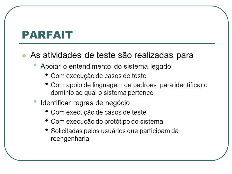 PARFAIT As atividades de teste são realizadas para