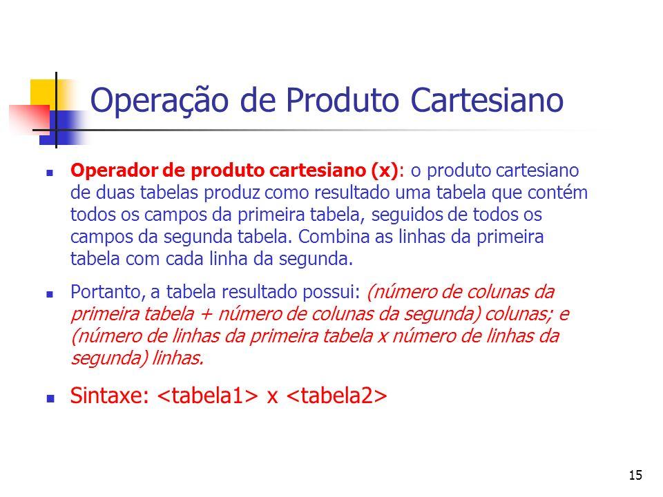 Operação de Produto Cartesiano