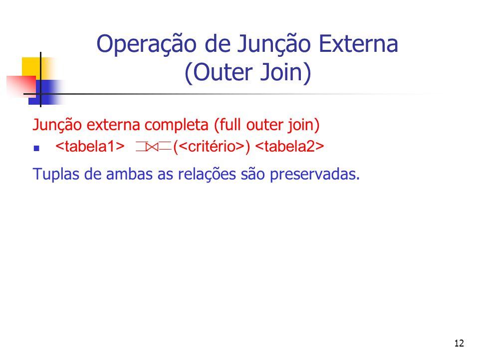 Operação de Junção Externa (Outer Join)