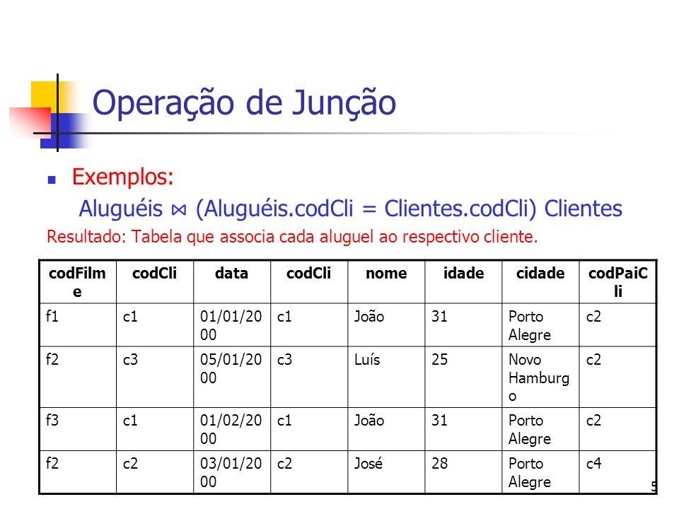 Operação de Junção Exemplos: