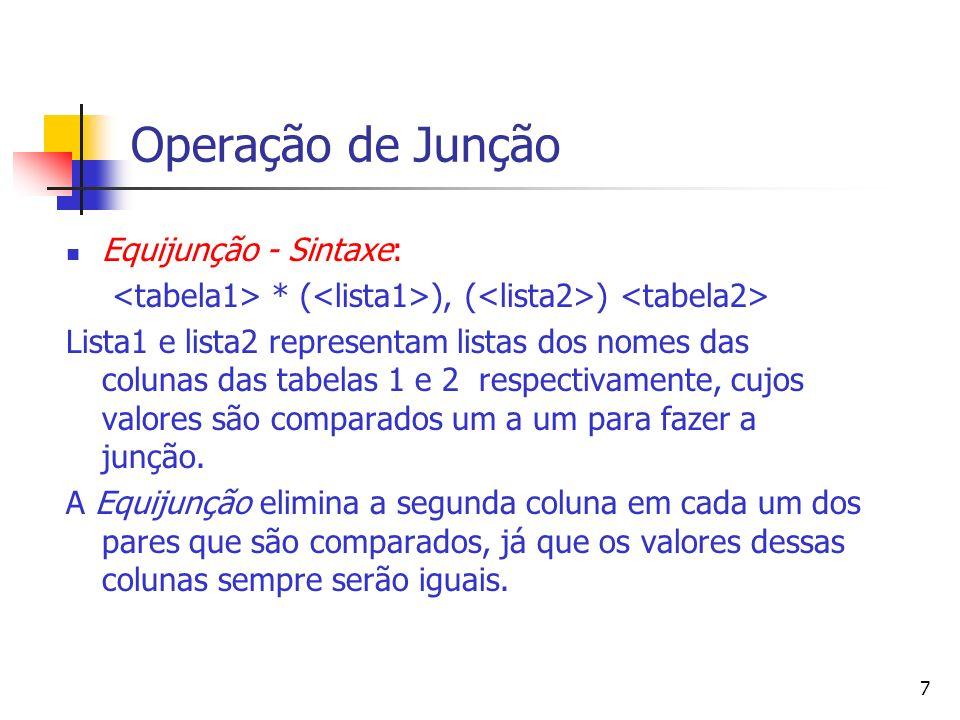 Operação de Junção Equijunção - Sintaxe:
