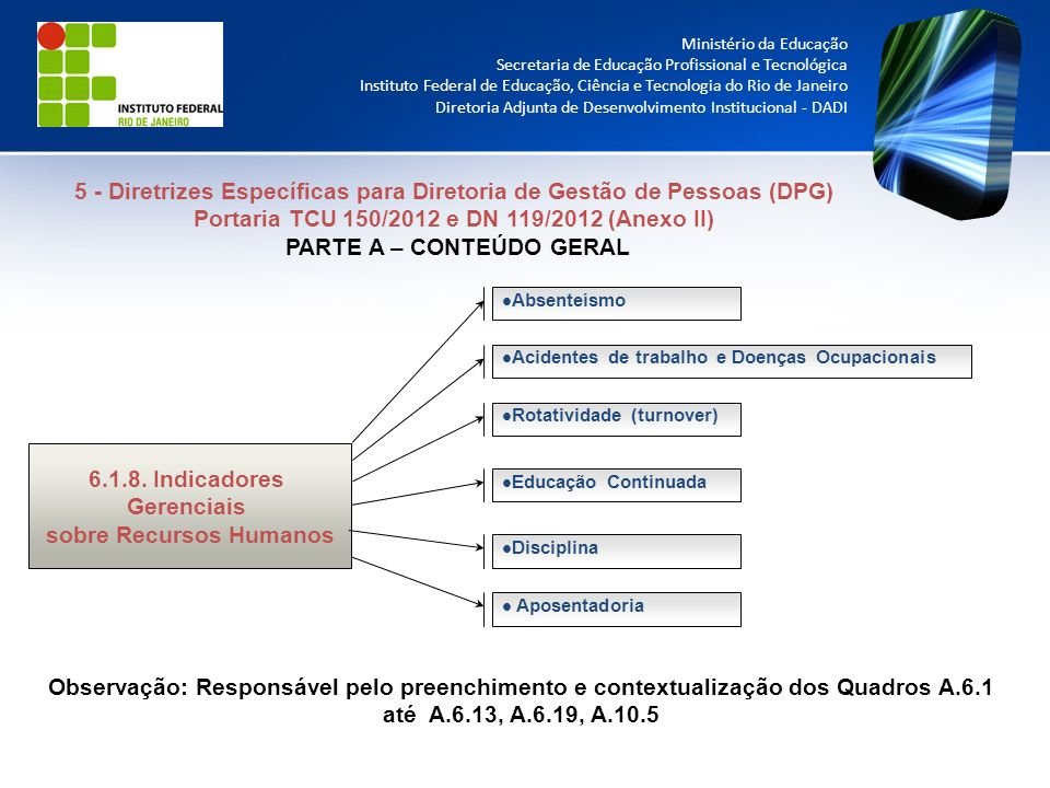 5 - Diretrizes Específicas para Diretoria de Gestão de Pessoas (DPG)