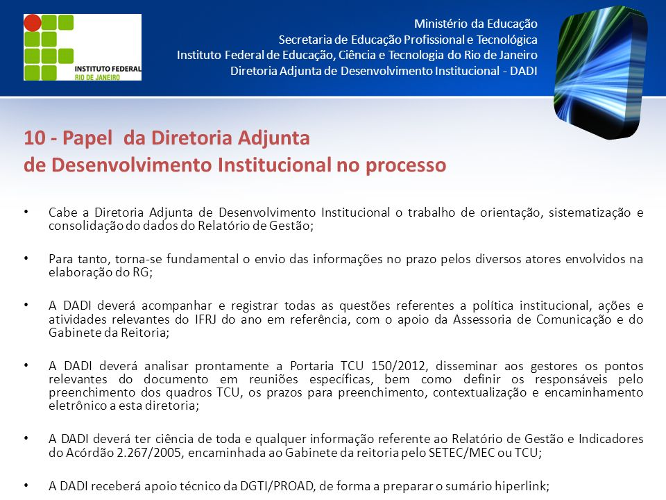 10 - Papel da Diretoria Adjunta