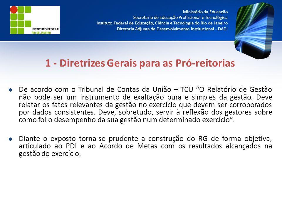 1 - Diretrizes Gerais para as Pró-reitorias