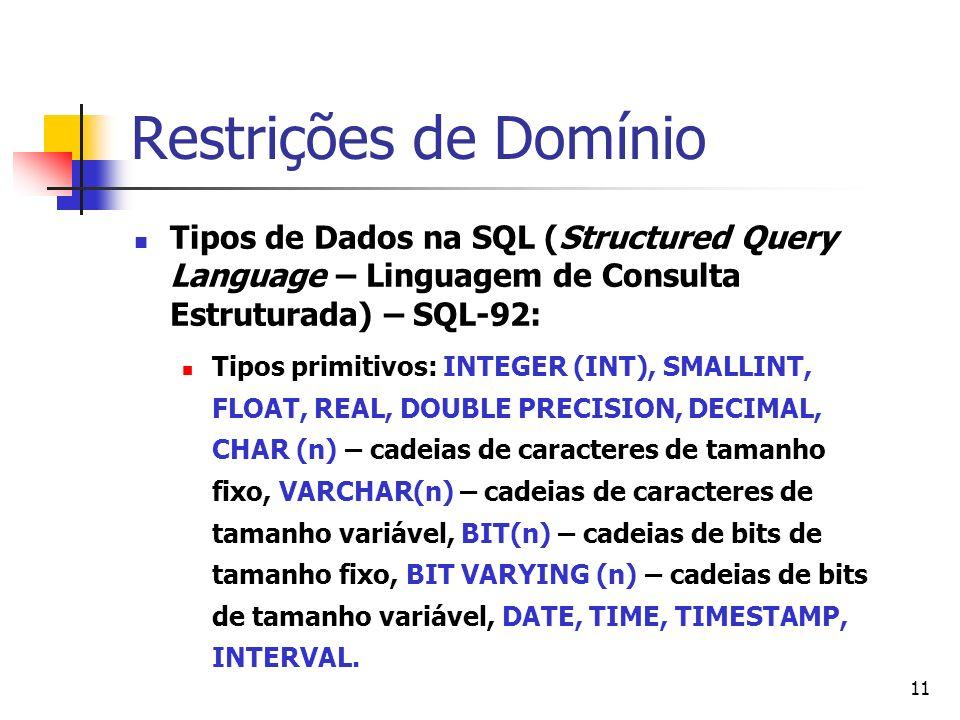 Restrições de Domínio Tipos de Dados na SQL (Structured Query Language – Linguagem de Consulta Estruturada) – SQL-92: