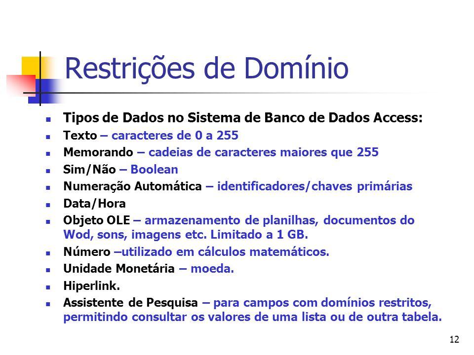 Restrições de Domínio Tipos de Dados no Sistema de Banco de Dados Access: Texto – caracteres de 0 a 255.