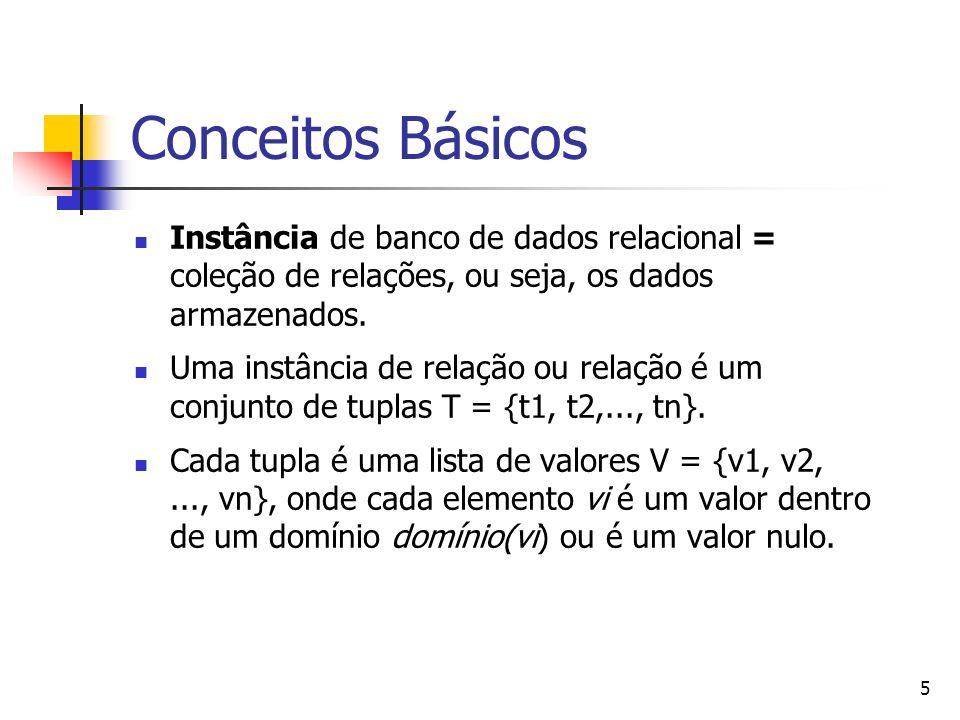 Conceitos Básicos Instância de banco de dados relacional = coleção de relações, ou seja, os dados armazenados.