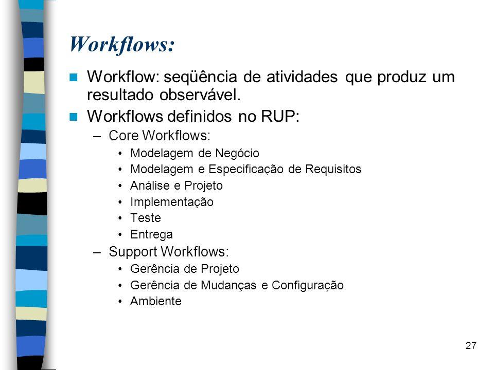 Workflows: Workflow: seqüência de atividades que produz um resultado observável. Workflows definidos no RUP: