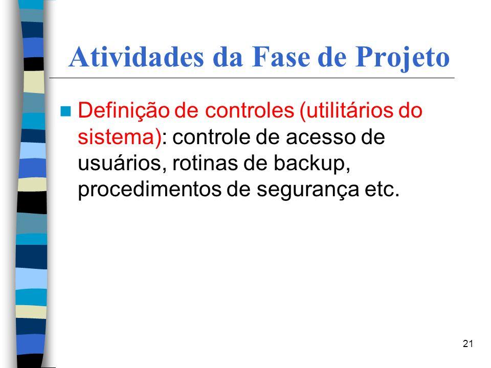 Atividades da Fase de Projeto