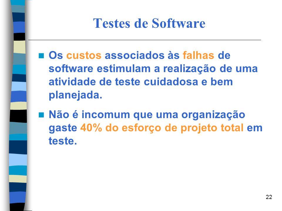 Testes de Software Os custos associados às falhas de software estimulam a realização de uma atividade de teste cuidadosa e bem planejada.