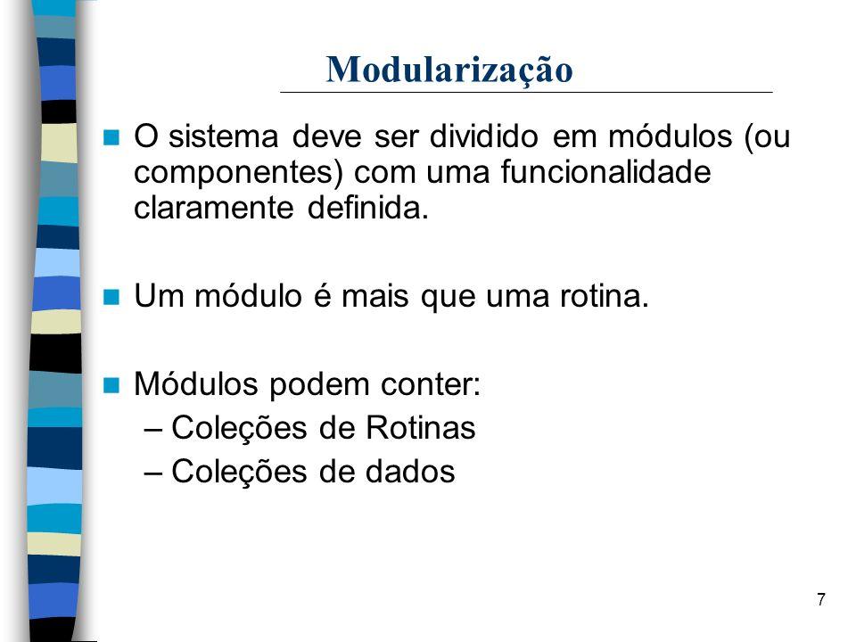 Modularização O sistema deve ser dividido em módulos (ou componentes) com uma funcionalidade claramente definida.