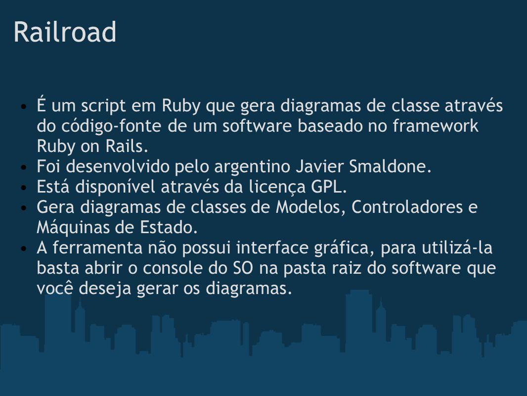 Railroad É um script em Ruby que gera diagramas de classe através do código-fonte de um software baseado no framework Ruby on Rails.
