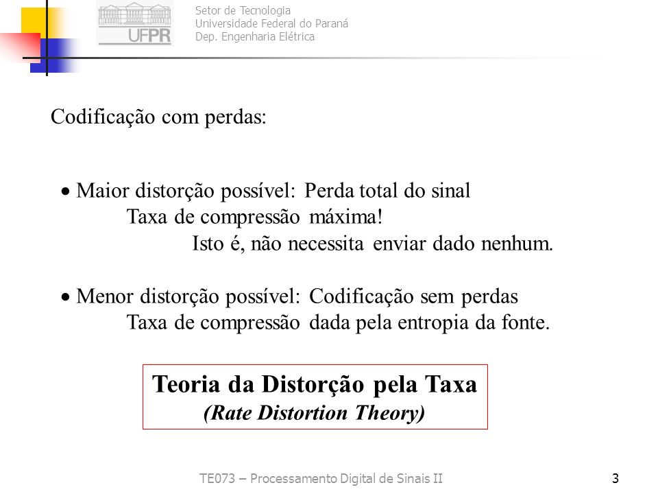 Teoria da Distorção pela Taxa (Rate Distortion Theory)