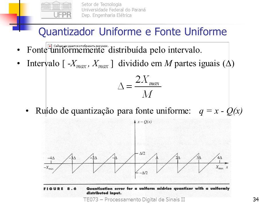 Quantizador Uniforme e Fonte Uniforme
