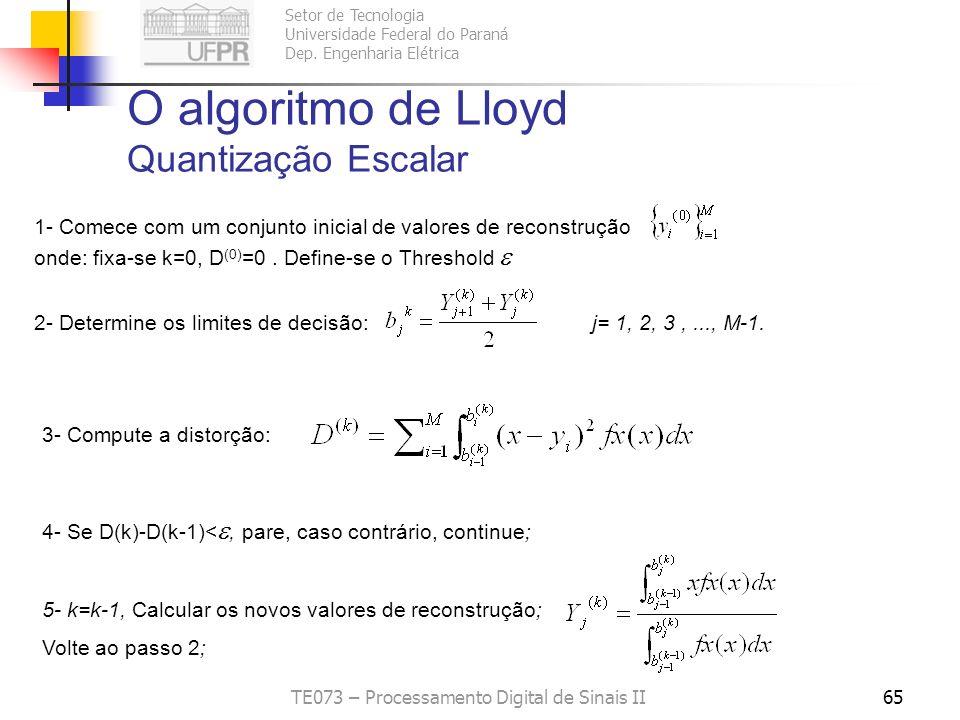 O algoritmo de Lloyd Quantização Escalar
