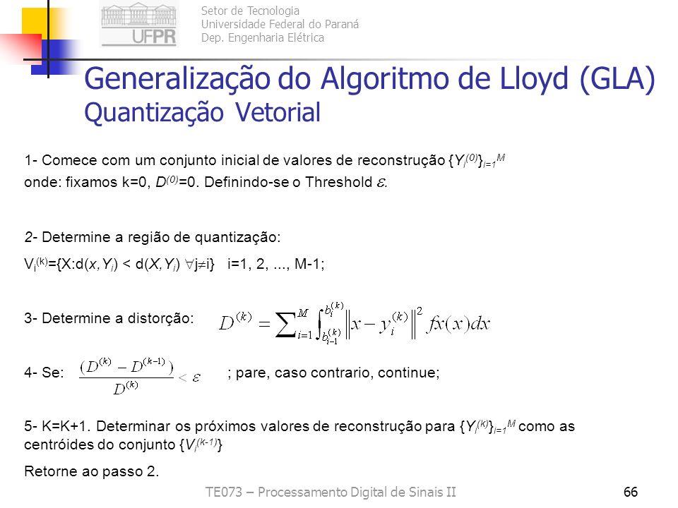 Generalização do Algoritmo de Lloyd (GLA) Quantização Vetorial