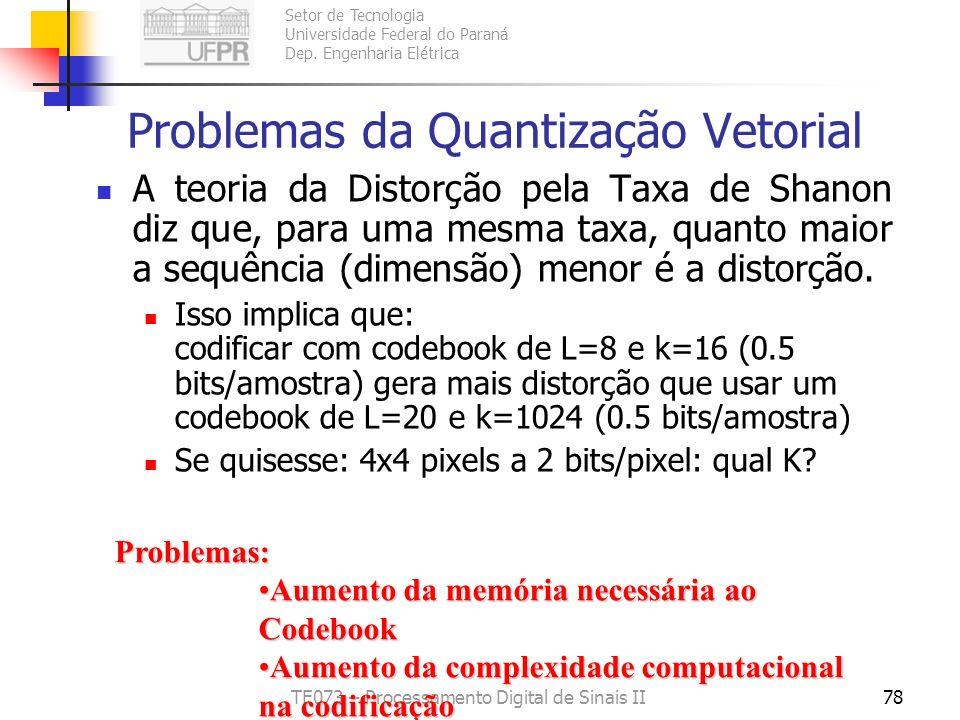 Problemas da Quantização Vetorial