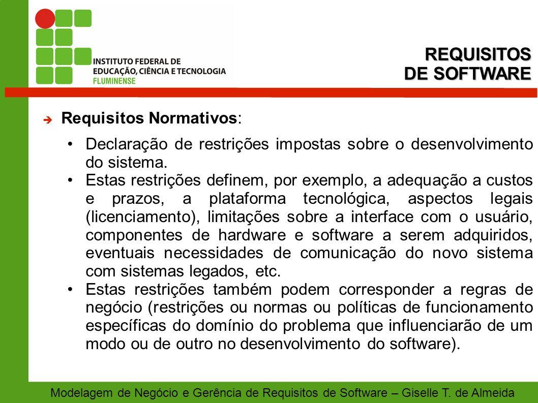 REQUISITOS DE SOFTWARE Requisitos Normativos: