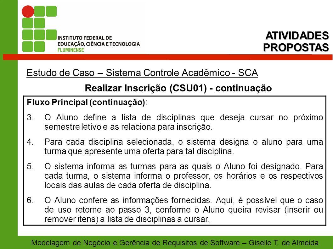 Realizar Inscrição (CSU01) - continuação