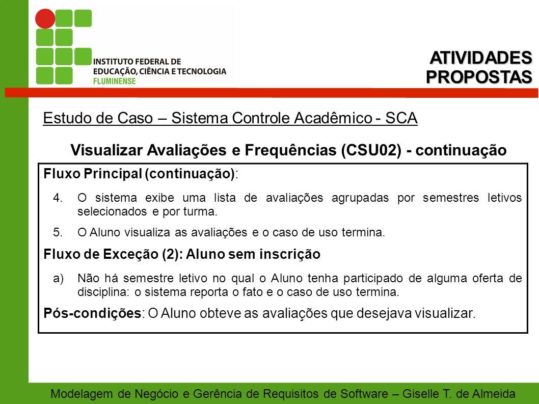 Visualizar Avaliações e Frequências (CSU02) - continuação