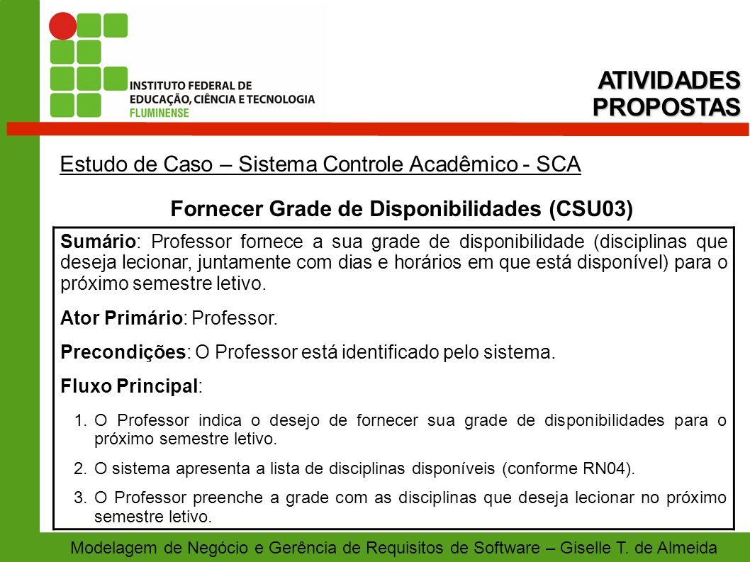 Fornecer Grade de Disponibilidades (CSU03)