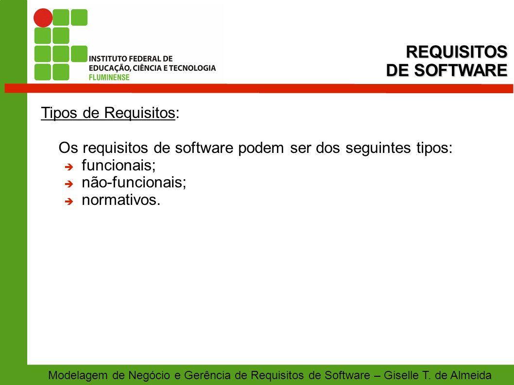 REQUISITOS DE SOFTWARE Tipos de Requisitos: