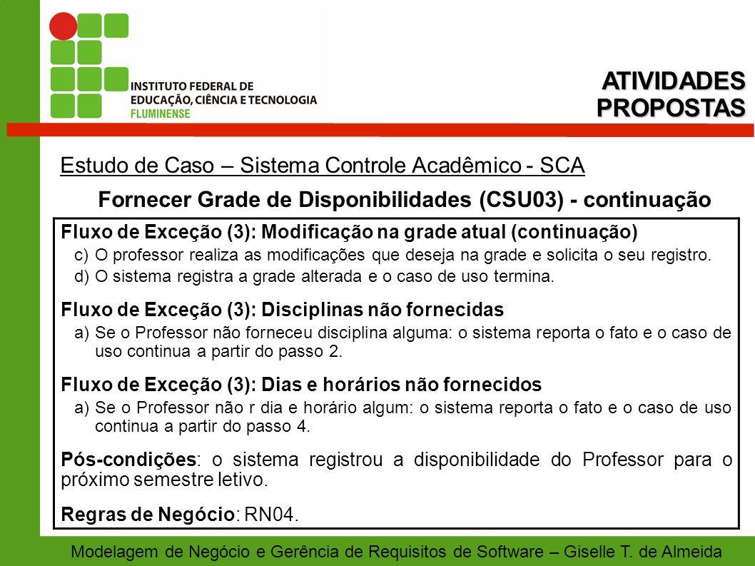 Fornecer Grade de Disponibilidades (CSU03) - continuação