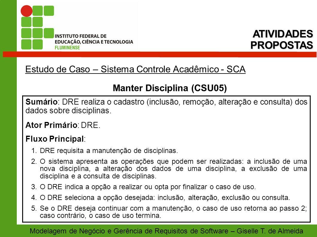 Manter Disciplina (CSU05)