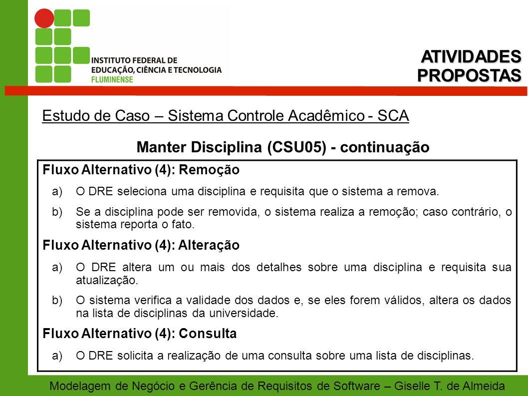 Manter Disciplina (CSU05) - continuação