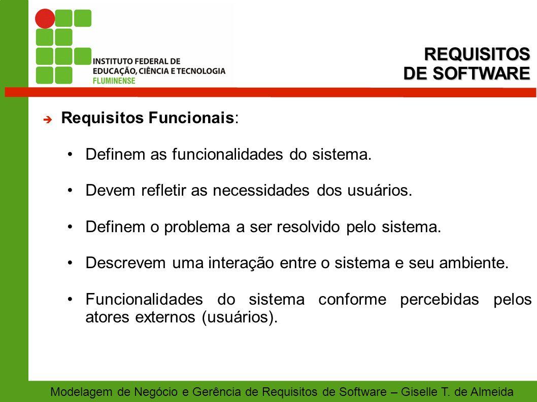 REQUISITOS DE SOFTWARE Requisitos Funcionais: