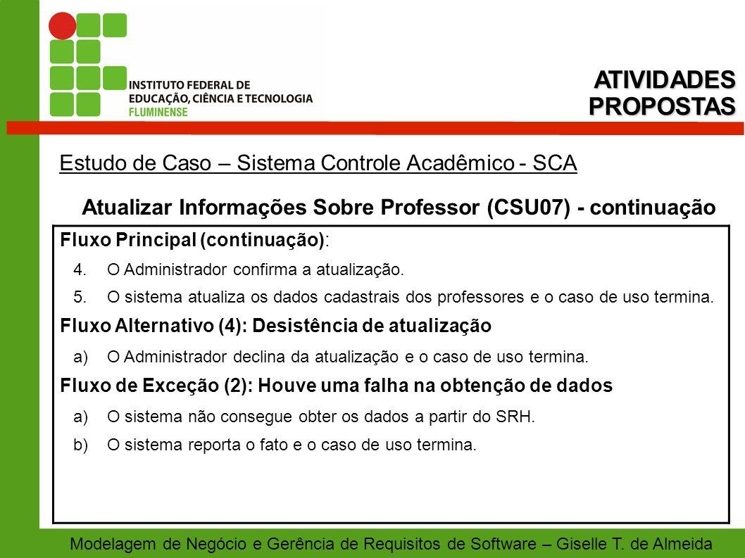 Atualizar Informações Sobre Professor (CSU07) - continuação