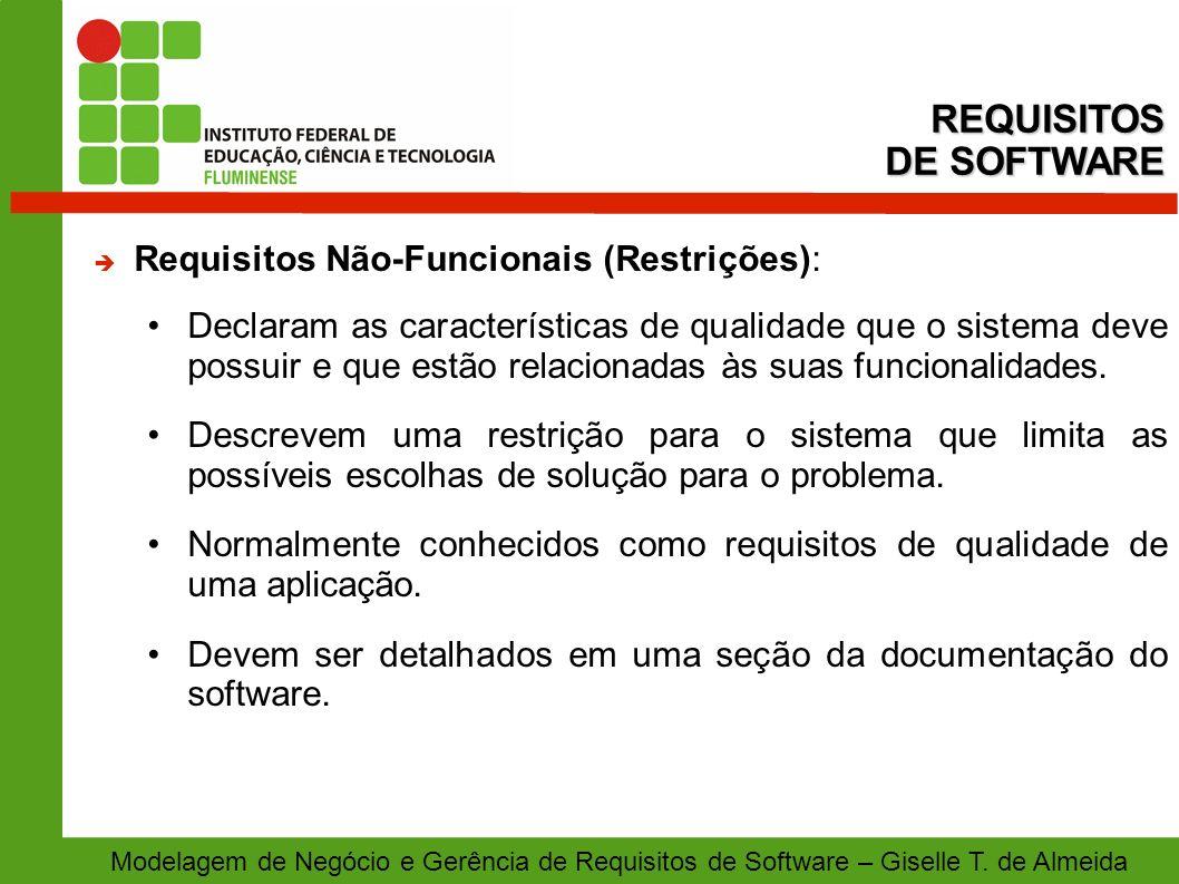 REQUISITOS DE SOFTWARE Requisitos Não-Funcionais (Restrições):
