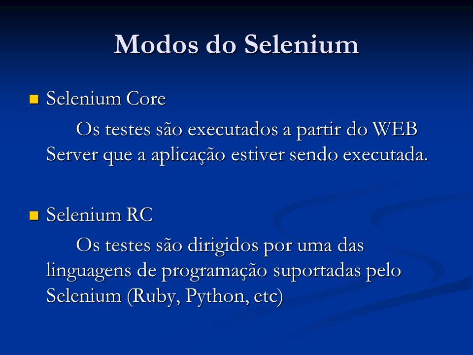 Modos do Selenium Selenium Core