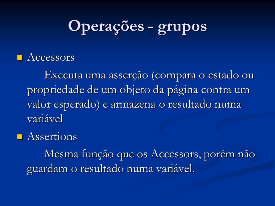 Operações - grupos Accessors