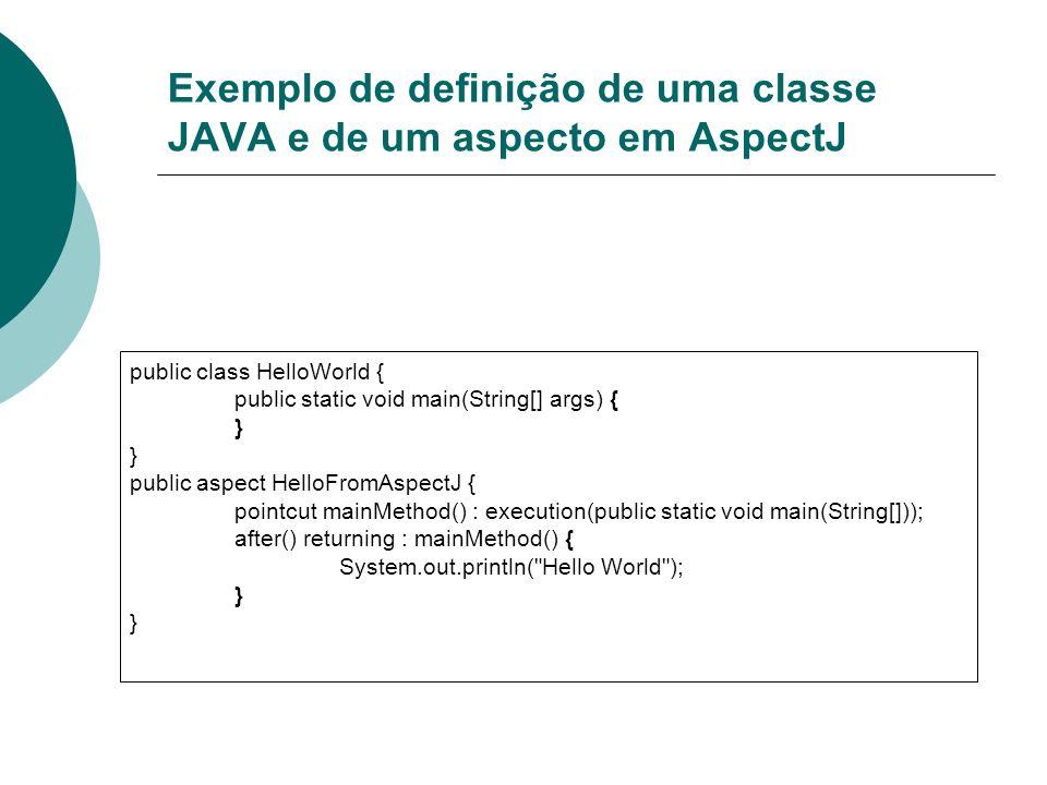 Exemplo de definição de uma classe JAVA e de um aspecto em AspectJ