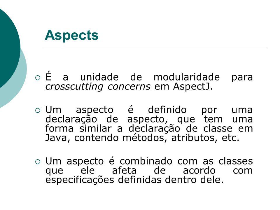 AspectsÉ a unidade de modularidade para crosscutting concerns em AspectJ.