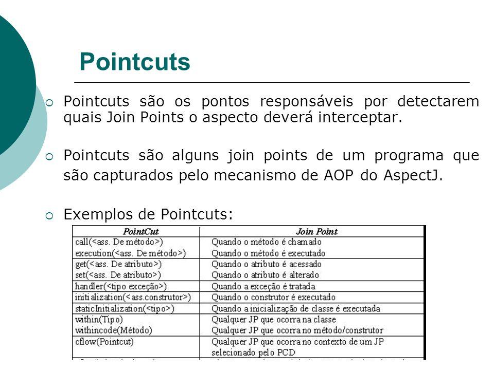 PointcutsPointcuts são os pontos responsáveis por detectarem quais Join Points o aspecto deverá interceptar.