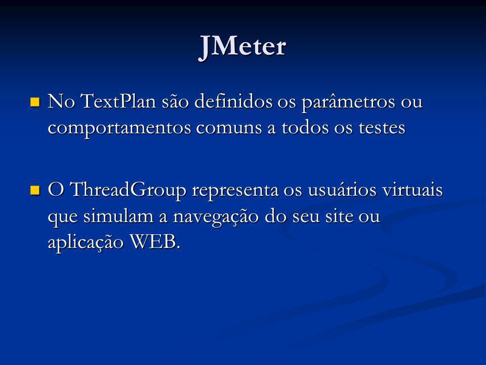 JMeter No TextPlan são definidos os parâmetros ou comportamentos comuns a todos os testes.